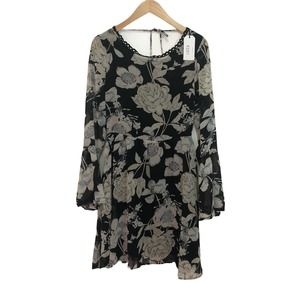 Lucca Couture Floral Dress V Neck Long Bell Sleeve